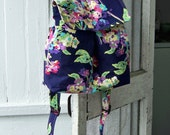 Backpack with Flap - Blue Floral - - - NEW