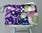 reserved - Blue Flower Messeneger Bag - - 3 Pockets - - Key Fob - - Adjustable Strap