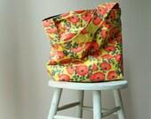 Red Poppies Bucket Bag, 2 Pockets, Key Fob