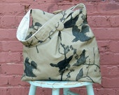Tobacco Brown Market Bag Reverisble Tobacco Bird and Tea Stained Dragonfly Tote