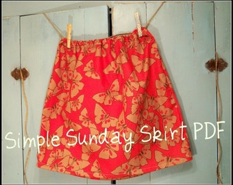 Skirt Pattern PDF Instructions, Simple Sunday Skirt, Easy 1 Hour Skirt, Drawstring or Elastic Waiste, For ALL SIZES