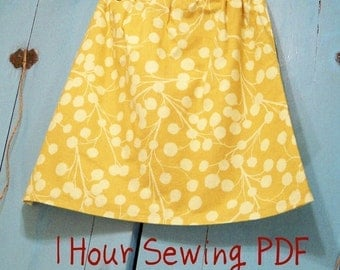 Simple Sunday Skirt Instructions PDF  ----- Easy 1 Hour Skirt Instructions ----- Elastic or Drawstring Waist ---- For ALL SIZES