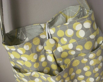 Grey Diaper Bag Six Pockets - - - Reversible - - - Customize Your Own and Made To Order