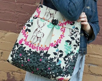 Last One - Woodland Diaper Bag - LG - 6 Pockets - Key Fob - Non Reversible - Cotton Linen Japanese Fabric