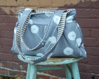 Grey Dandelion Tote - - 3 Pockets - Key Fob - - Retrofied Fabric
