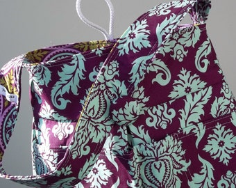 Damask Knitting Bag, Purple, Joel Dewberry, 8 Pockets, Reversible