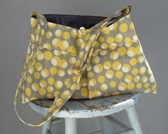Grey Yellow Messenger Bag - - Key Fob - - 3 Pockets - - Adjustable Strap - - Amy Butler Fabric