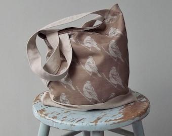 Brown Bird Bag - Linen - 2 Pockets