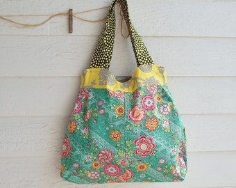 Granny Bag - Large - Amy Butler Fabric - Key Fob - 2 Pockets