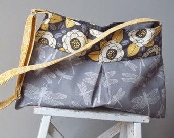 Grey Yellow Messenger Bag - Dragonfly - 3 Pocket - Adjustable Strap - Key Fob