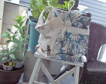 Robins Egg Blue Market Bag Set - Dragonflies - Hand Printed