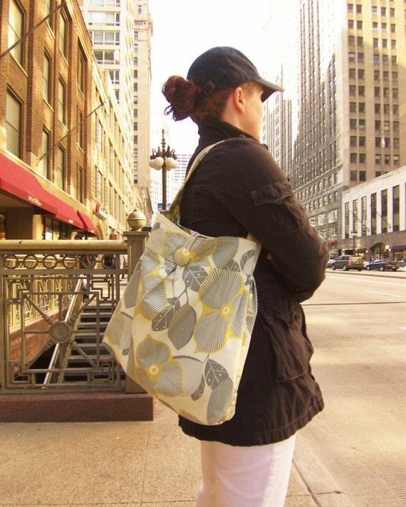 Reversible Tote Bag, Optic Linen and Mustard Martini