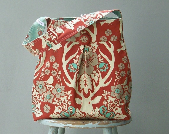 Earth tone Daper Bag - - Terra Cotta Deer Antler Fabric Joel Dewberry 6 Pockets Reversible
