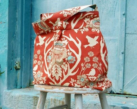 Terra Cotta Hobo Bag, Deer Antler, Floral Drop Azure, Reversible