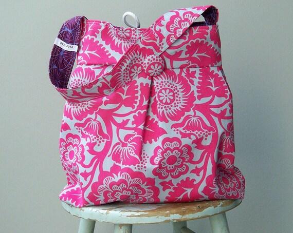 Grey Pink Purple Hobo Bag, Reversible, Large