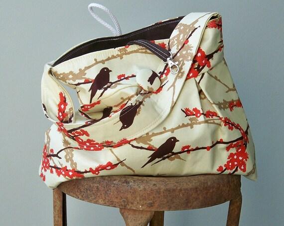 Brown Sparrow Bag, Bird Silouhettes, 3 Pockets, Key Fob