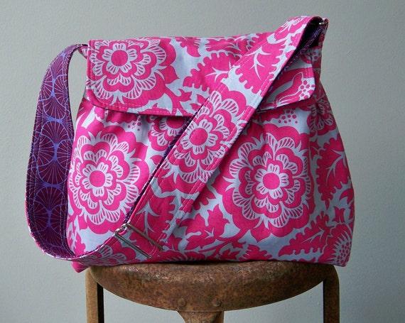 Grey Pink Messenger Bag, 4 Pockets, Key Fob
