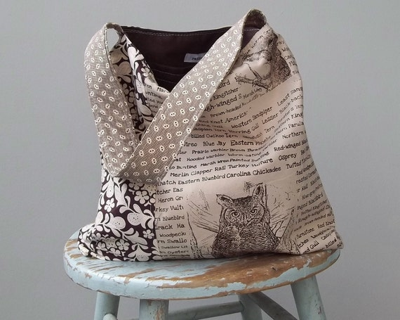 Tea Stained Bird Bag - - Henna - Two Pockets - - Screen Printed