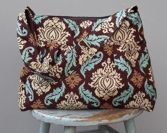 Brown Blue Diaper Bag - - 6 pockets - - Adjustable Strap