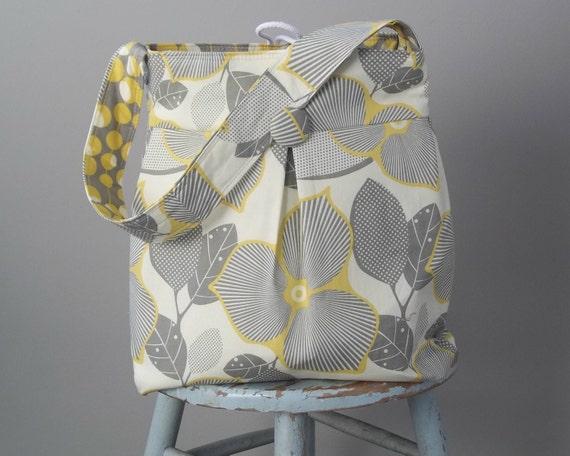 Grey Yellow Diaper Bag, Reversible, Large, 6 Pockets, 24 inch Strap