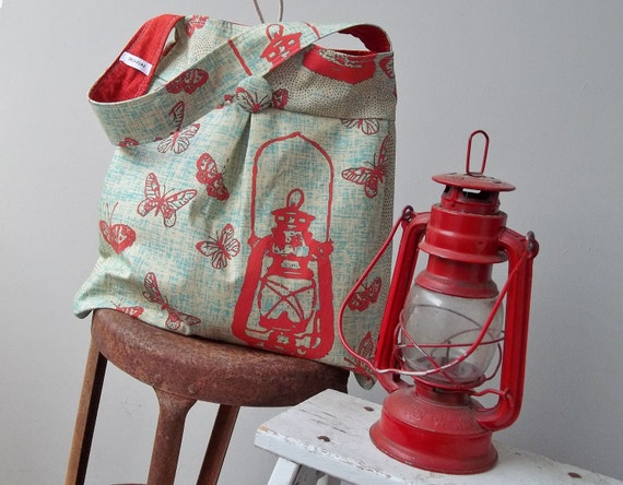 Vintage Red Lantern Tote Bag - Reversible - Large