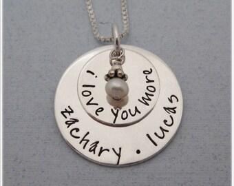Personalized  I Love You More Necklace - Personalized Mother's Jewelry - Layered Necklace - Children's Name Necklace - Hand Stamped Jewelry