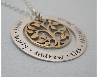 Personalized Family Tree Necklace - Mothers Necklace - Tree Of Life Necklace  - Hand Stamped Family Name Jewelry - Personalized Necklace
