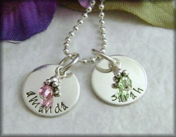 Hand Stamped Jewelry -  Name Charms - Circles of Love - Mommy Necklace