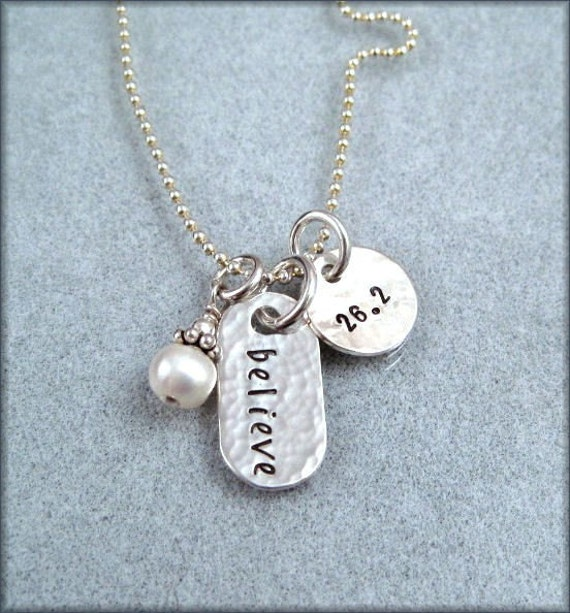 Believe Marathon Jewelry for runners Personalized race Charm Necklace