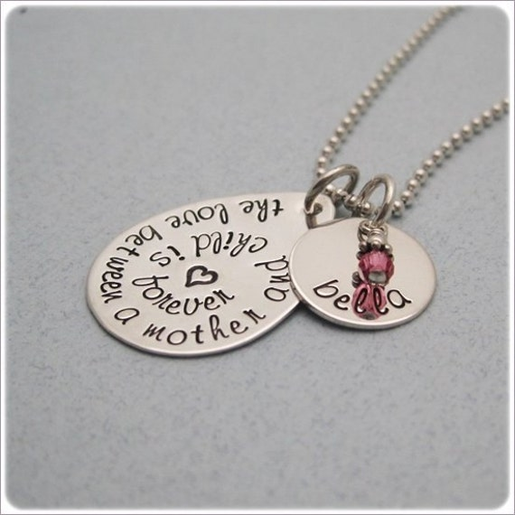 The Love Between Mother and Child is Forever - Personalized Mothers Necklace - Hand Stamped Teardrop Necklace -  Custom Quote Necklace