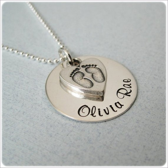 Hand Stamped Mommy Necklace - Personalized New Baby Jewelry - Sterling Silver Keepsake