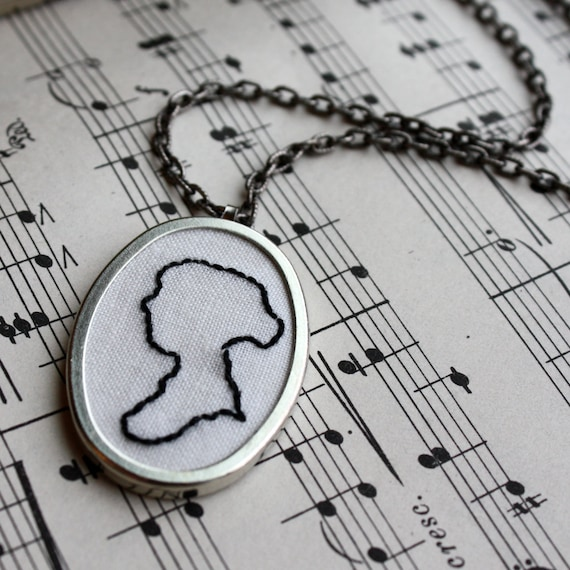 Jane Austen (embroidered Jane Austen sillouette pendant on antiqued chain)