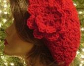 CHERRY RED OR YOU PICK ANY COLOR - UMA'S CUSTOM SIZED TO FIT (S - L) CELEBRITY CROCHET SNOOD BERET TAM HAT WITH REMOVABLE FLOWER PIN