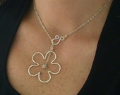 Stylized Flower Necklace Silver Wire Petals, Silver flower necklace, wire flower necklace