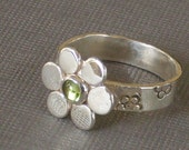 Peridot Ring with Recycled Silver Flower, Flower Ring, Bezel Set Peridot, August Birthstone Ring Silver