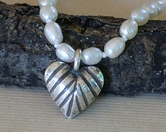 Pearl Necklace Silk Knotted Hand Knotted Thai Heart Pendant White Pearls Striped heart