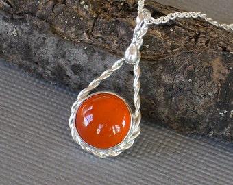 Orange Carnelian Cabochon Pendant Bezel Set in Handmade Twisted Wire Teardrop Tangerine Tango