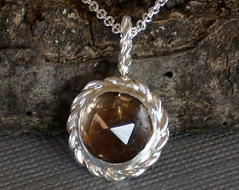 Smokey Quartz Necklace Faceted Round Cabochon with Twisted Wire