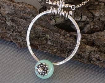 Glass Bead Necklace Hand Forged Sterling Silver Robin's Egg Blue Glass