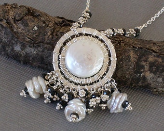 Coin Pearl Necklace Intricately Wrapped with Black Spinel