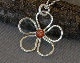 Wire Flower Necklace Sunstone Cabochon