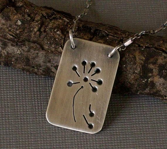 Dandelion Necklace Hand Pierced Metalwork Pendant Dog Tag Style Pendant - Make a Wish
