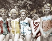 Hanging Out with The Girlfriends Bathing Suit Girls w CAmera vintage photo greeting card
