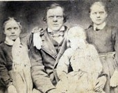 Eerie Spooky Family Norwegian FAther and Girls ghost 1874 CDV