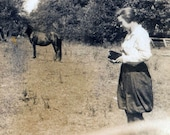 Young Lady w Horse Changes Film on Camera vintage photo