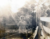 Double Exposure Ghostly Girl and Grandma by Fence vintage photo
