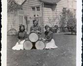 3 Teen Girls Drums Drummers in school band Vintage Photo