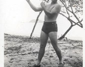 Muscle Man Guy in Swim Trunks vintage photo