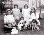 Victorian Australian Children Summer Day Dolls Pug Dog Teddy Bear 1906