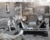 vintage photo MEn w Car Life w An Auto 1926 typewriter words folk art photograph